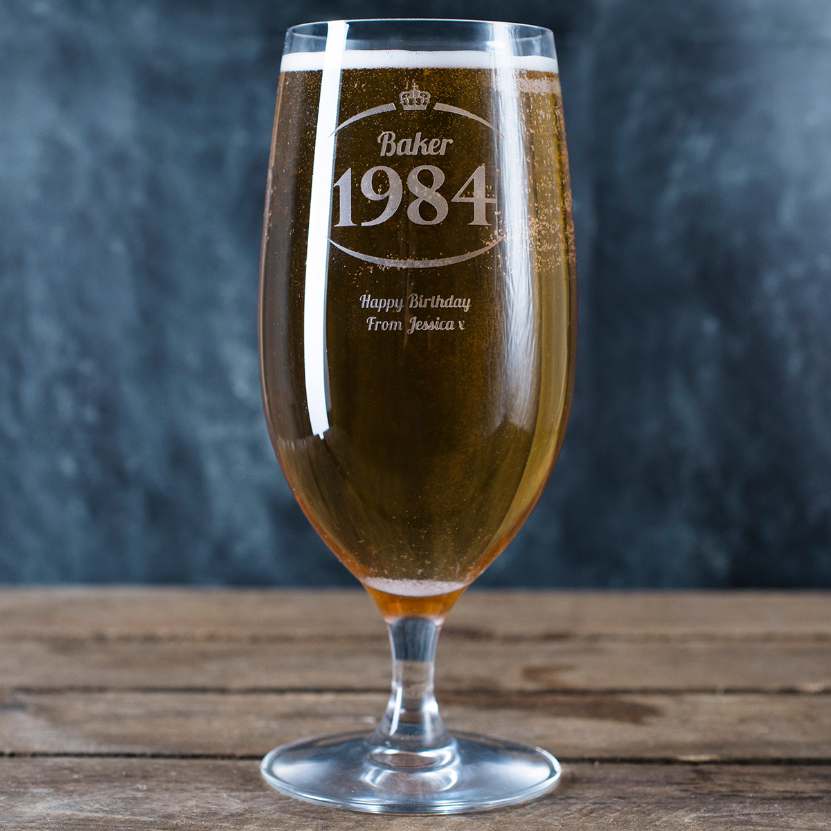 Personalised Cabernet Stem Beer Glass - Surname & Year