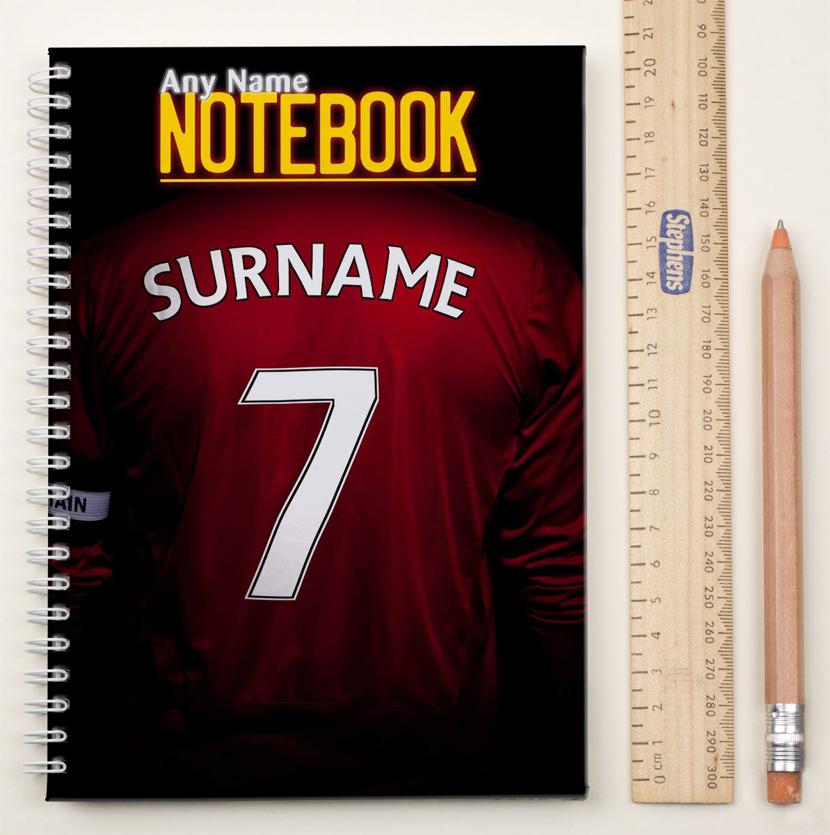 Personalised Football Shirt Notebook  Red