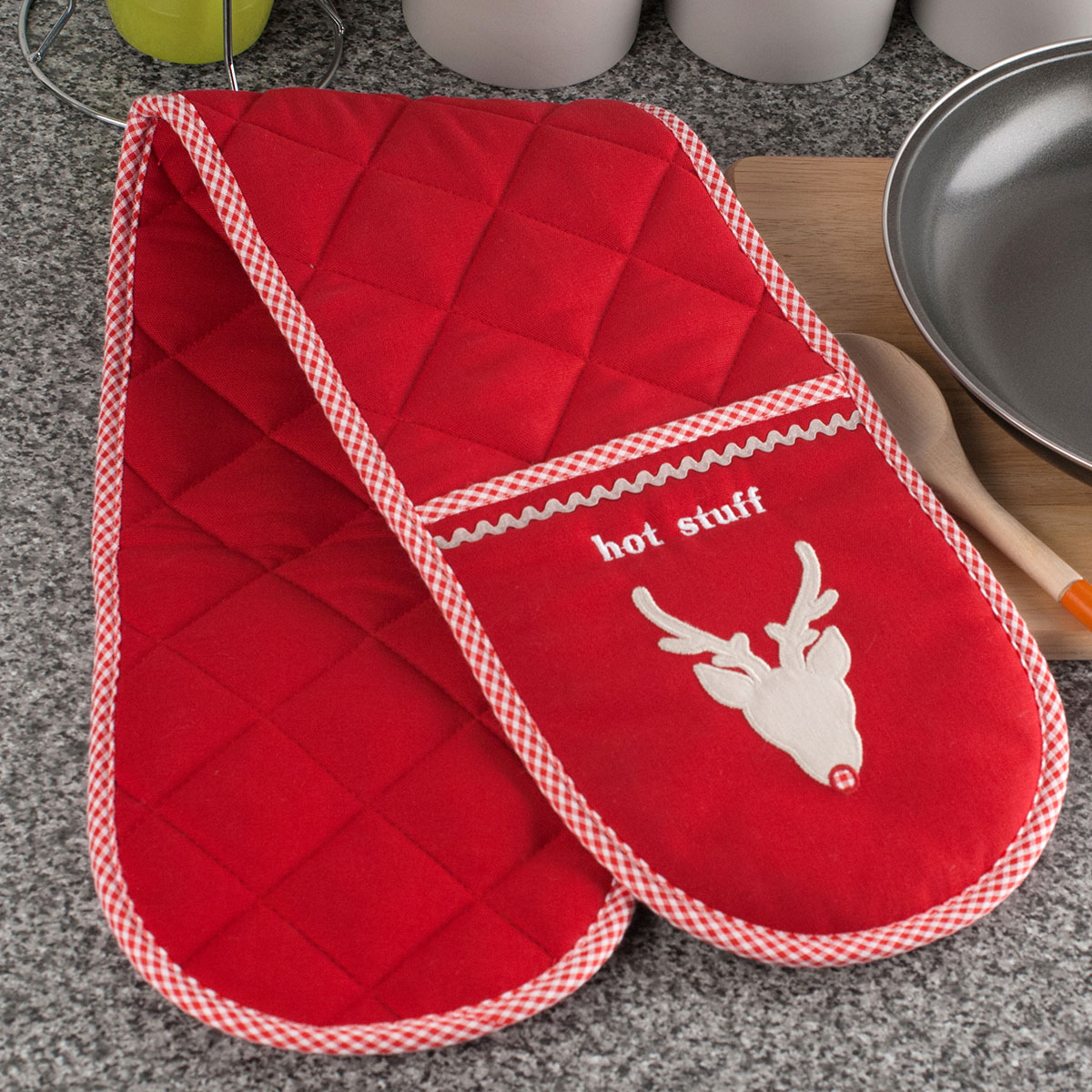 Embroidered Double Oven Glove - Reindeer Design
