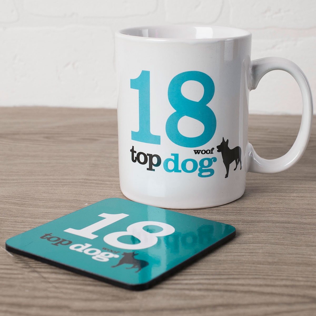 Image of 18th Birthday Mug And Coaster Set - Top Dog