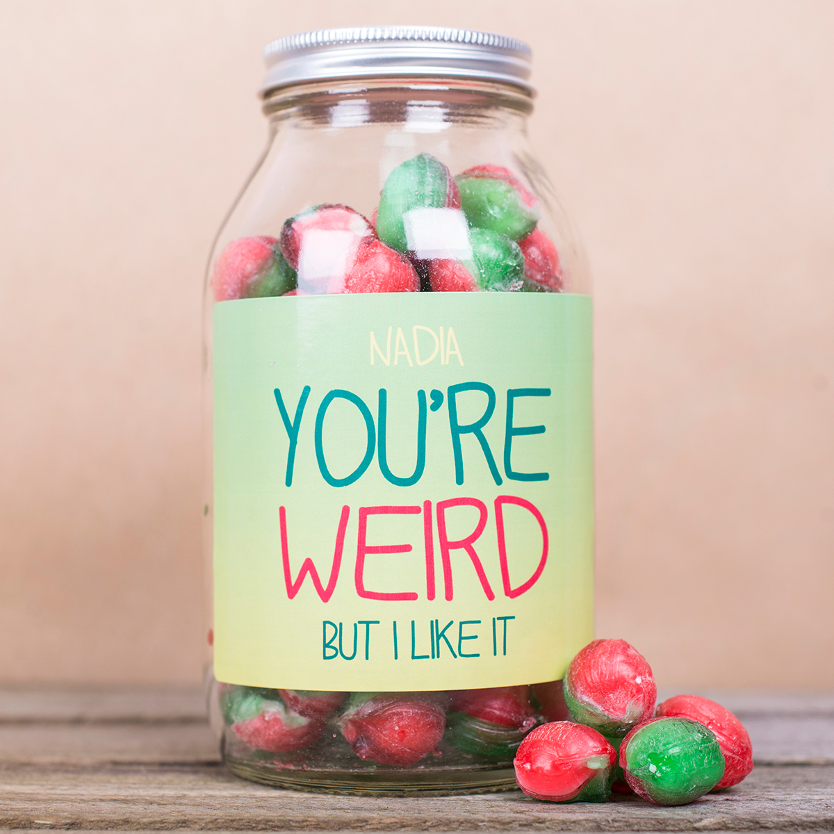 Personalised Jar Of Rosy Apple Sweets - You're Weird