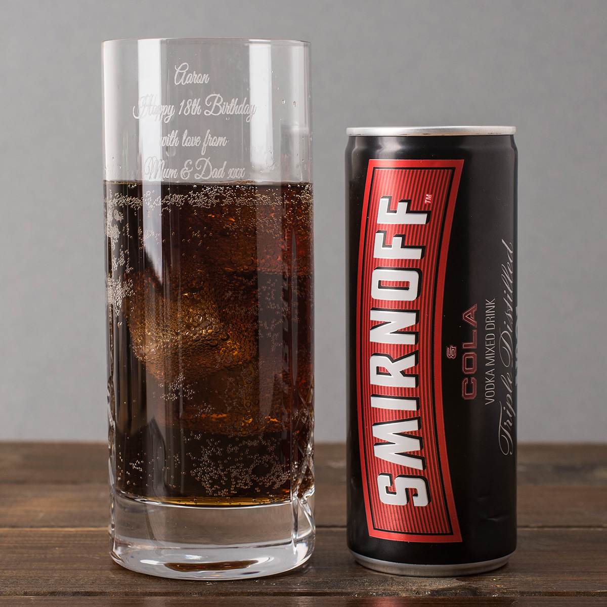 Engraved Crystal Highball Glass With Smirnoff Mixer