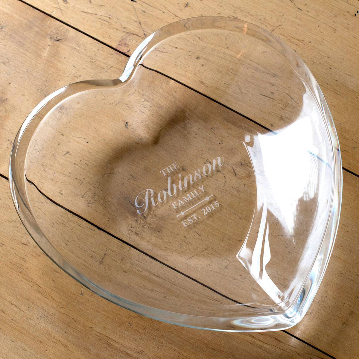 Personalised Heart Glass Bowl  Family Name
