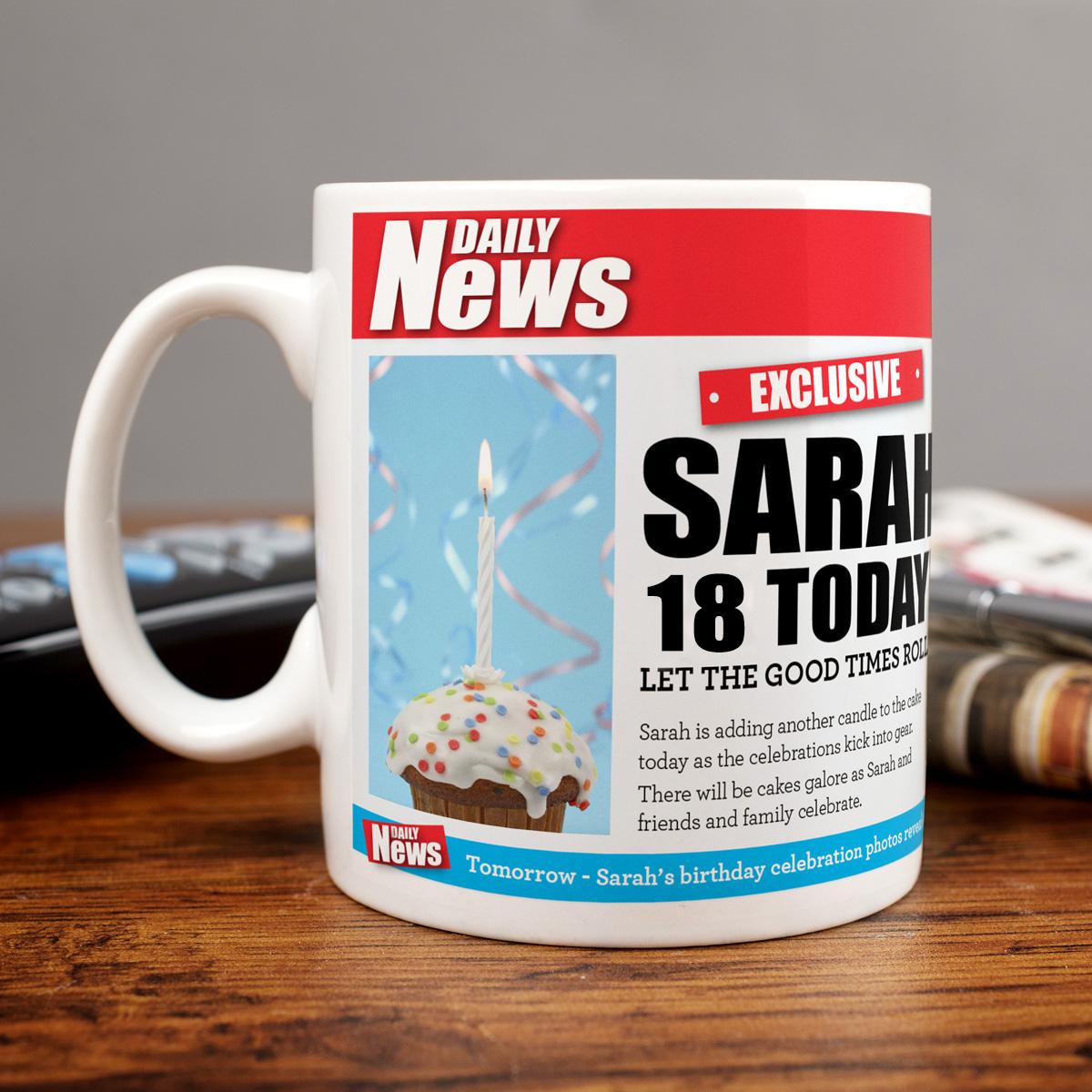 Personalised Mug - 18 Birthday News