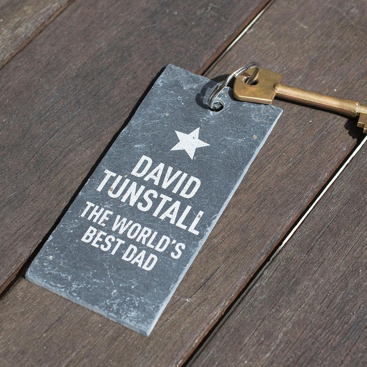 Engraved Slate Key Ring - World's Best