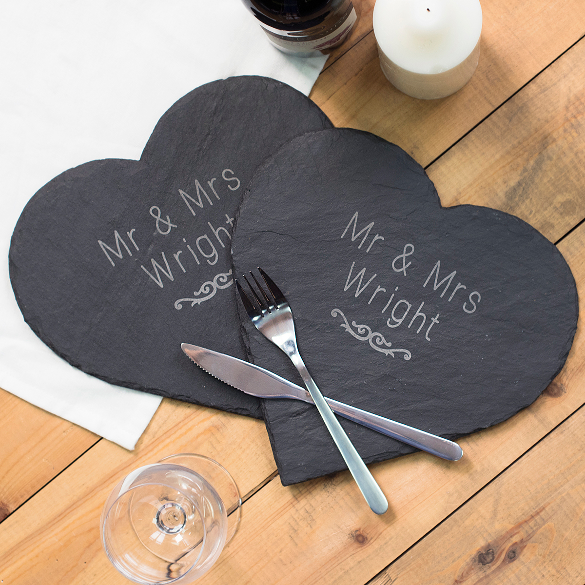 Image of Engraved Set Of 2 Heart-Shaped Slate Placemats - Couples