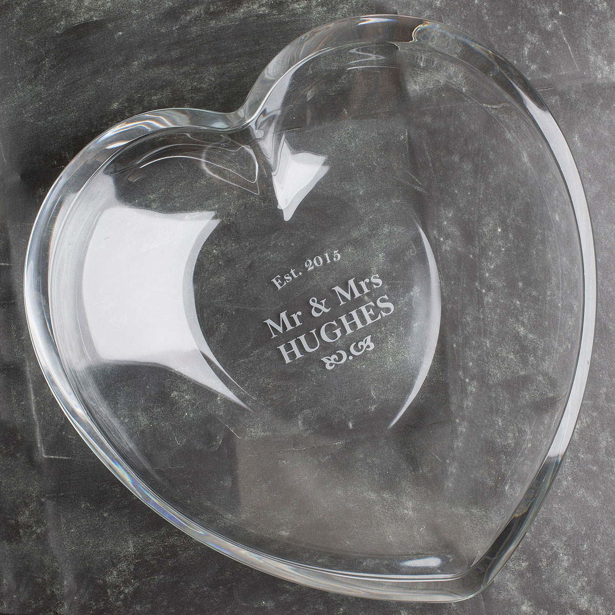 Personalised Heart Glass Bowl  Mr & Mrs