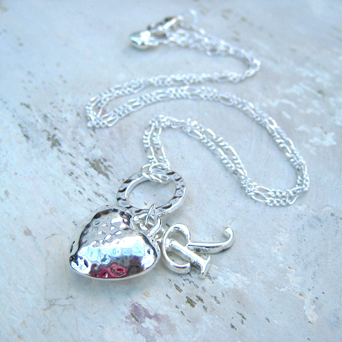 Personalised Heart Charm Necklace  Any Initial
