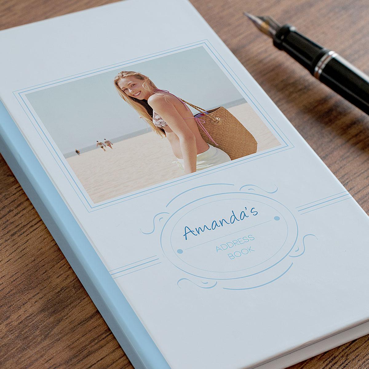 Photo Upload Address Book  Blue Frame