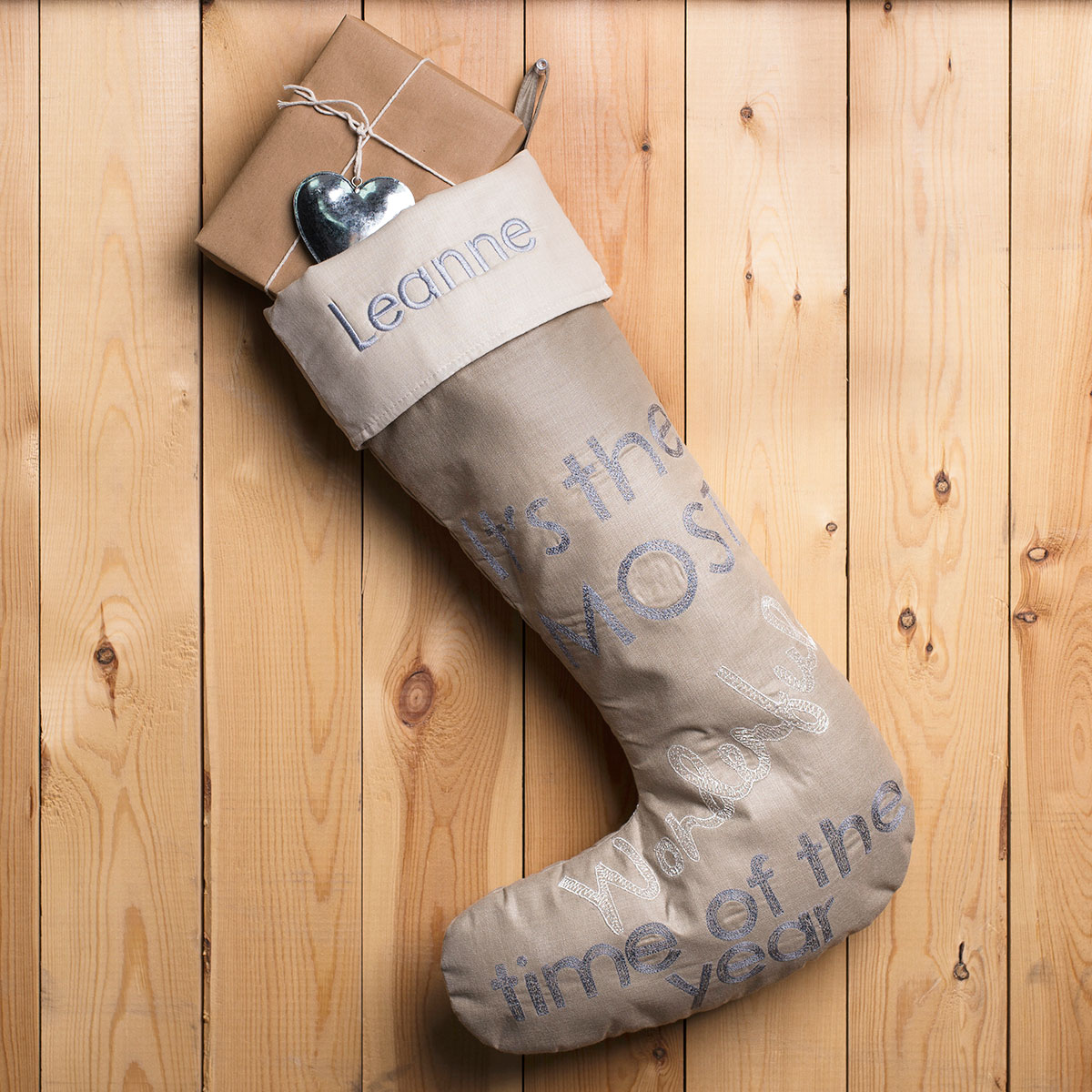 Personalised Luxury Christmas Stocking - Wonderful Time