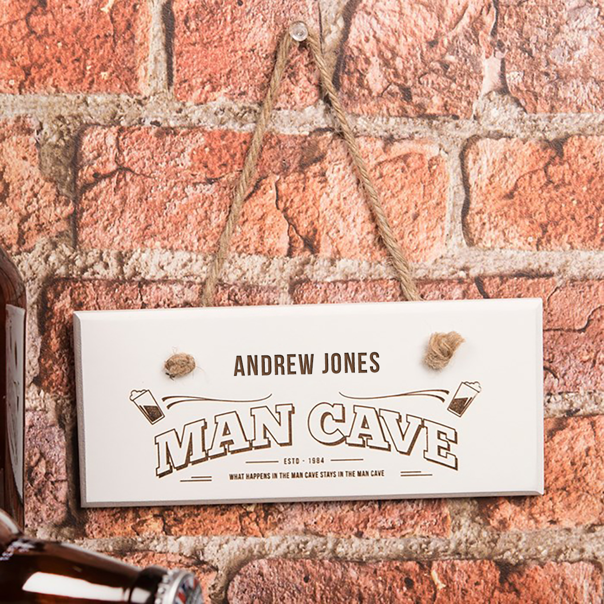 Personalised Hanging White Wooden Sign  Man Cave
