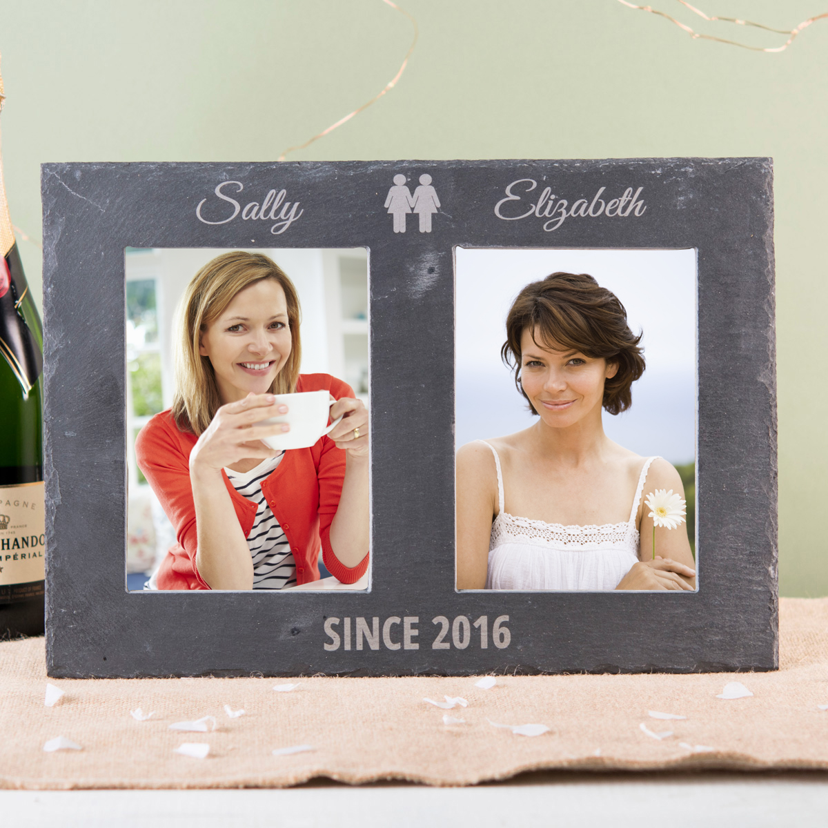 Image of Engraved Double Slate Photo Frame - Hers & Hers
