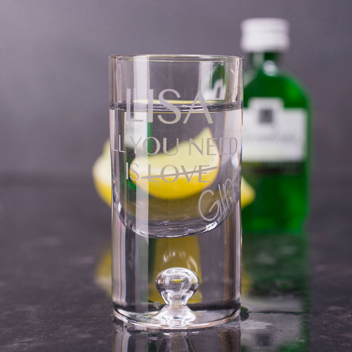 Personalised Shot Glass with Miniature  All You Need Is