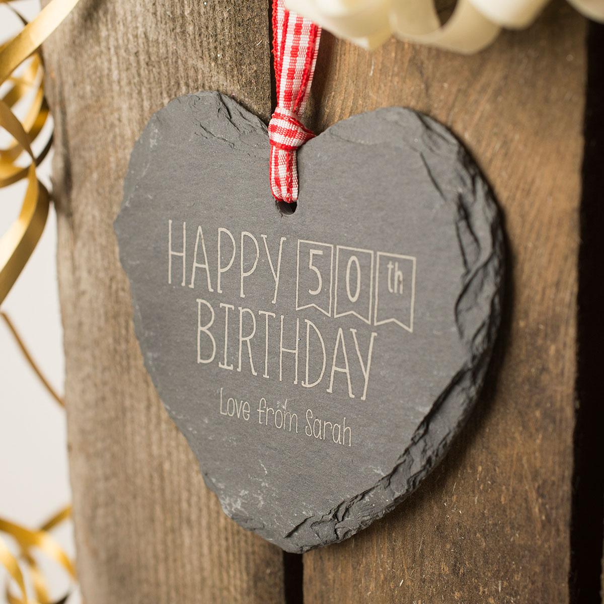 Image of Engraved Heart Shaped Slate Hanging Keepsake - Happy 50th Birthday