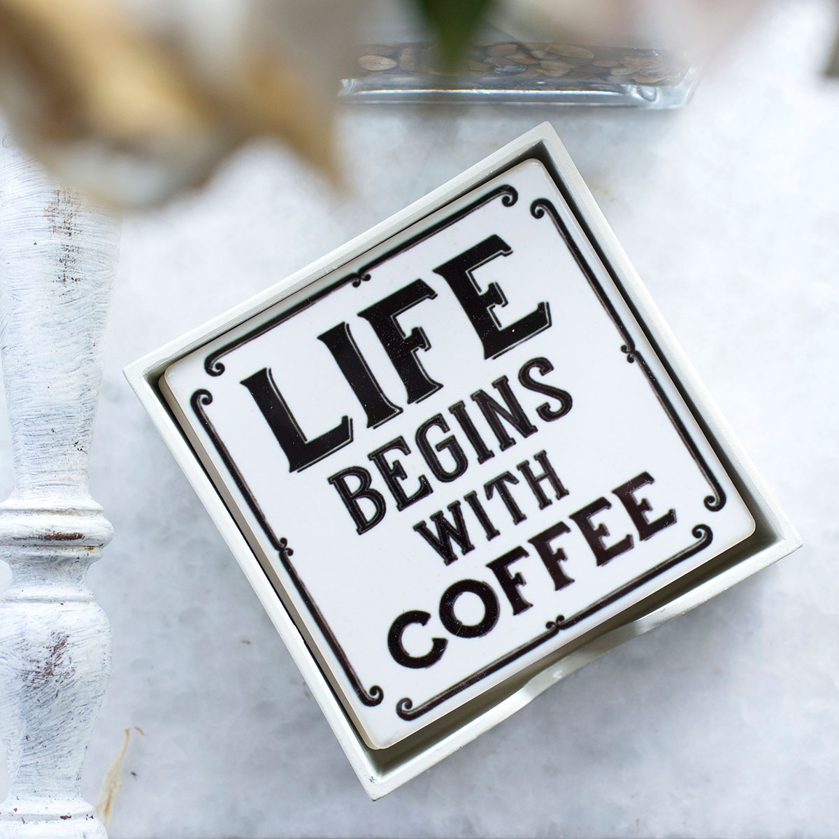 Set of 4 Coffee Tile Ceramic Coasters
