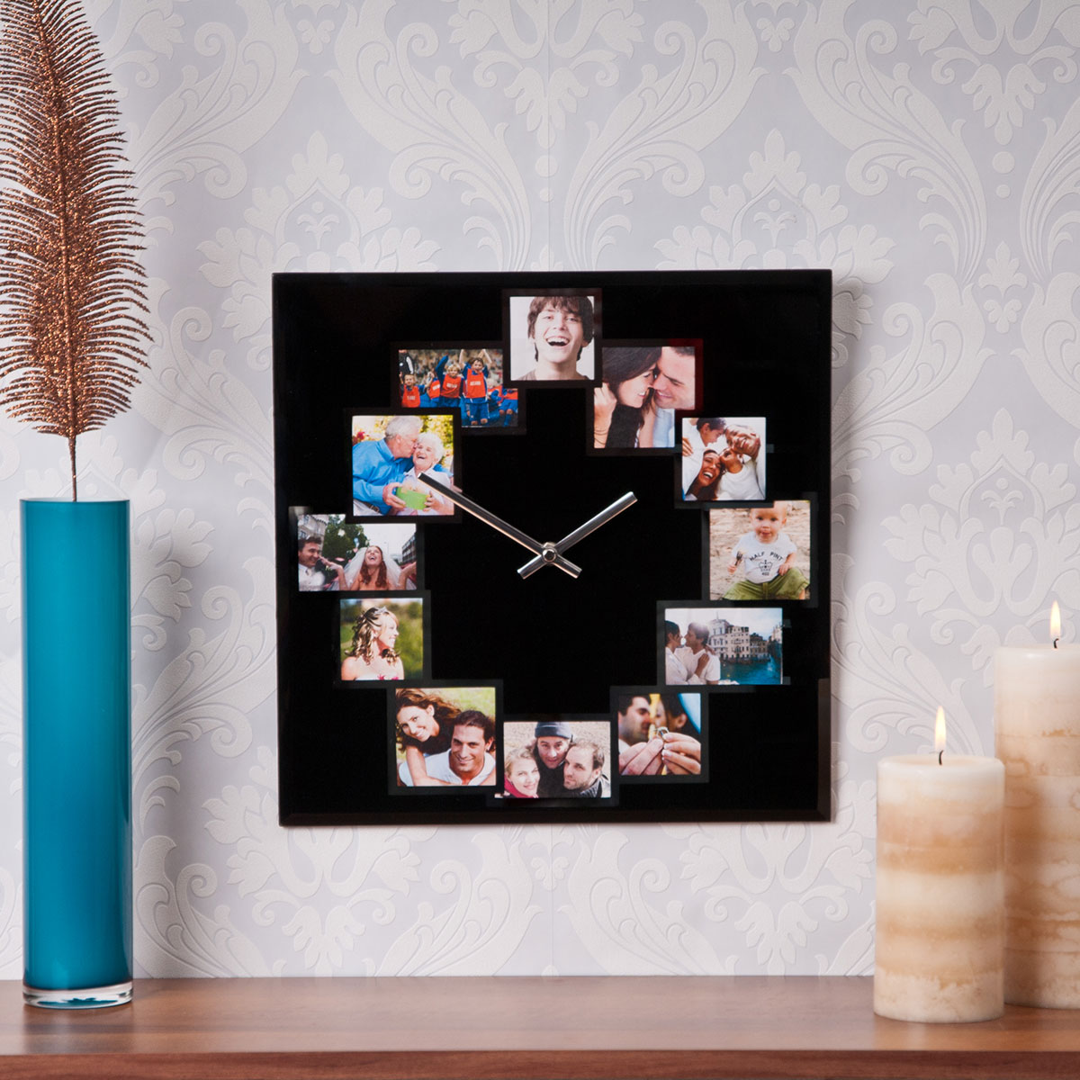 Home Time  Square Photo Wall Clock