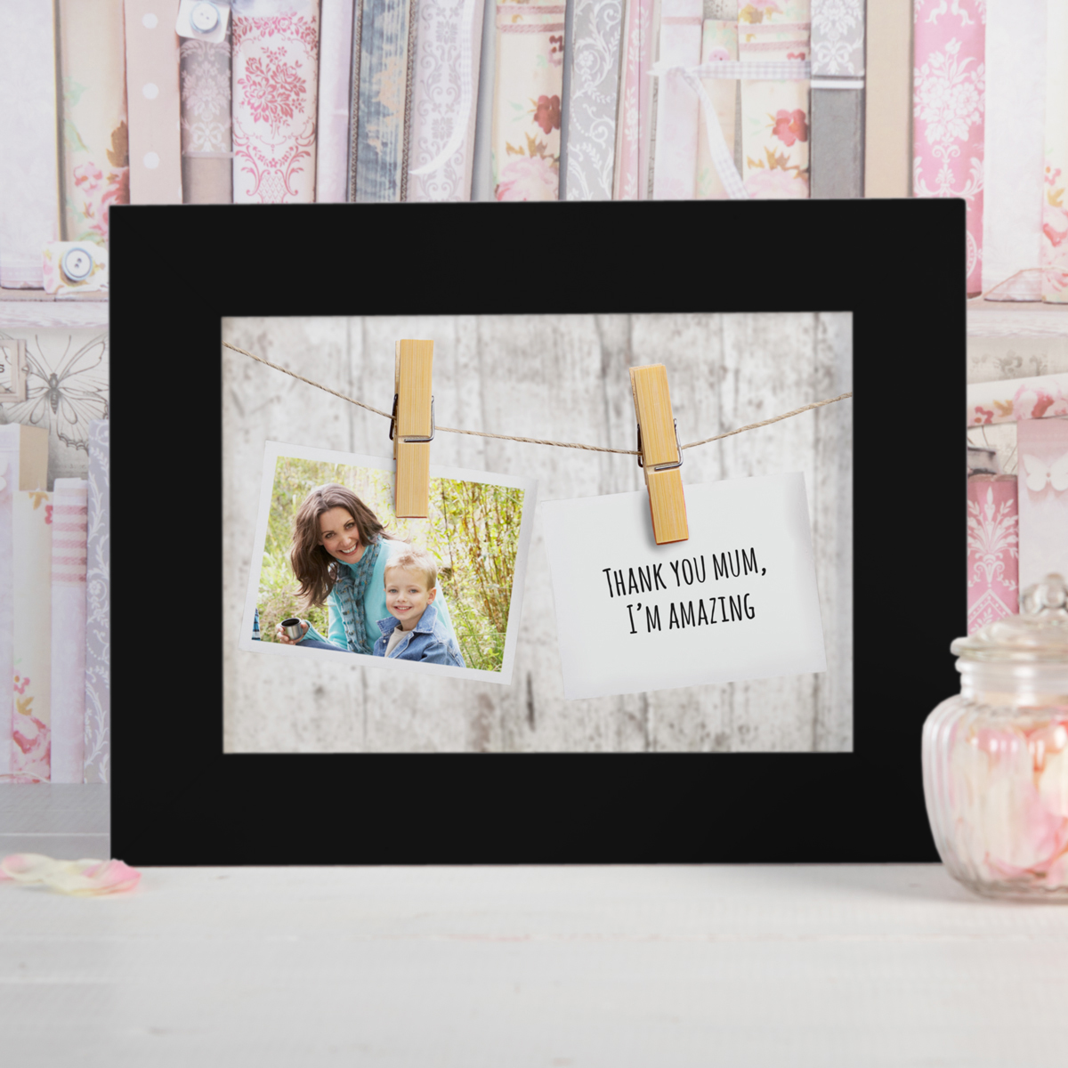 Photo Upload Framed Print  Hanging Photo & Message