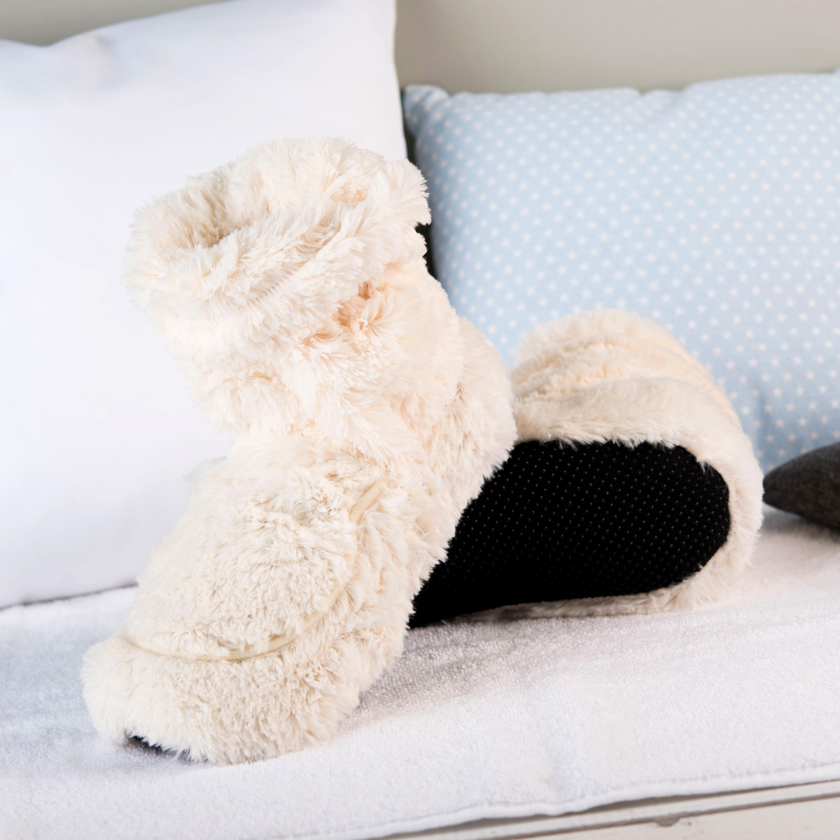 Cozy Boots™ Cream Microwavable Slipper Boots