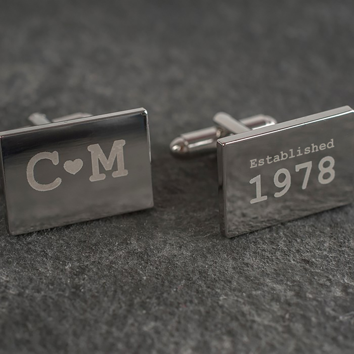 Engraved Rectangle Cufflinks - Initials and Year