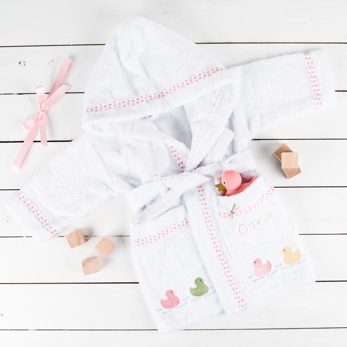 Personalised Babys Dressing Gown for Girls