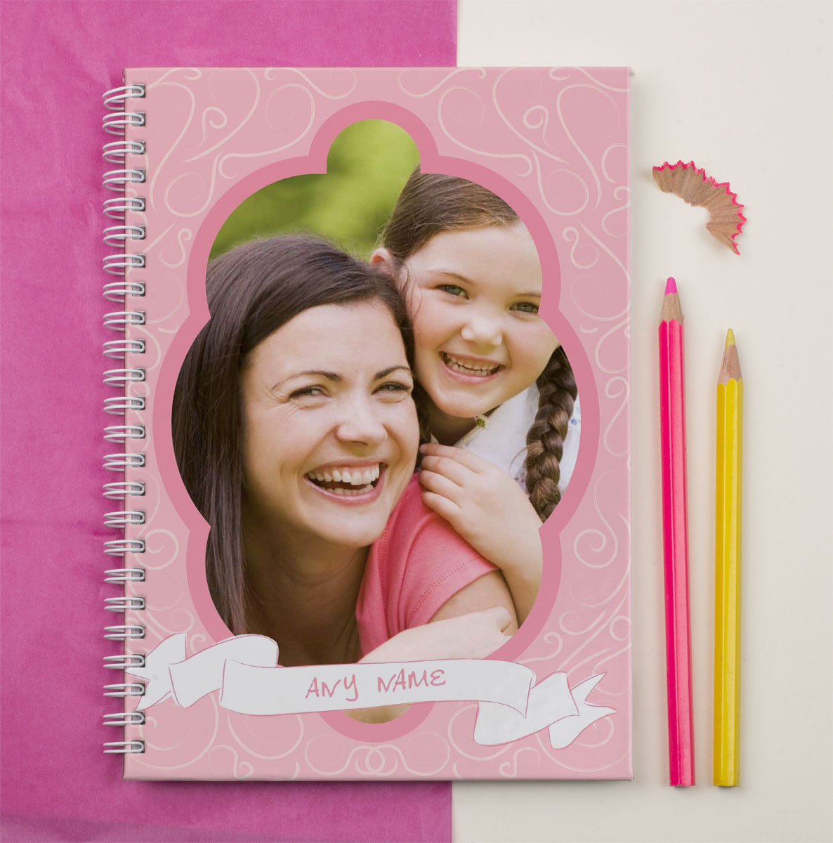 Frame It Photo Upload Notebook  Pink Swirls