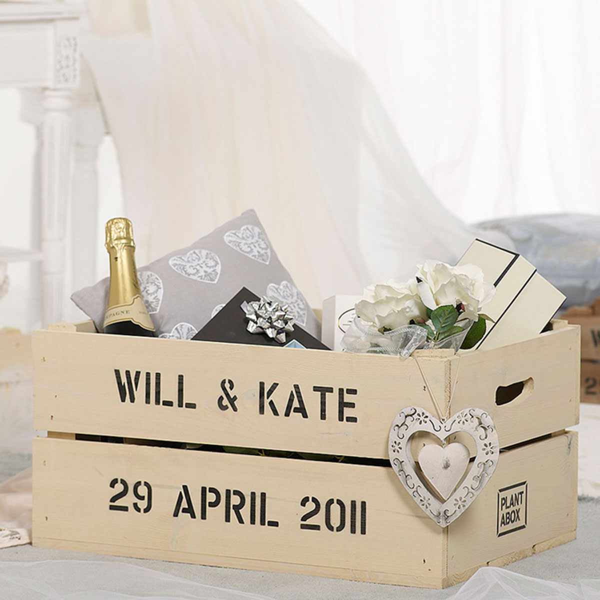 Just Married  Apple Crate Planter