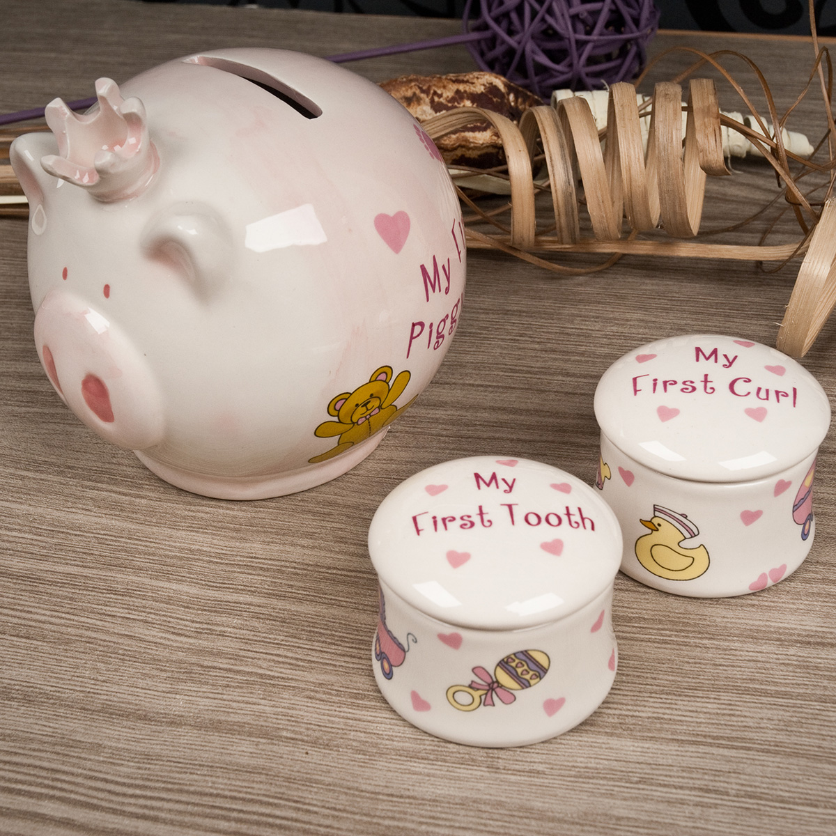 My First Piggy Bank, Tooth & Curl Trinket Boxes - Baby Girl
