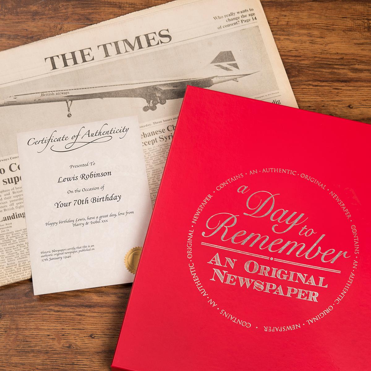 Image of Original Newspaper From 1946 (70th Birthday)