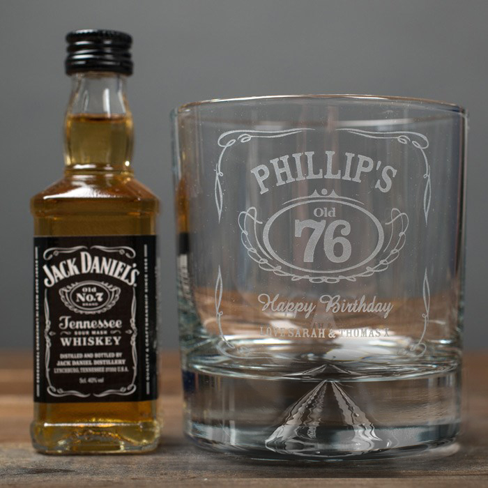 Personalised Birthday Whisky Tumbler and Jack Daniels Miniature