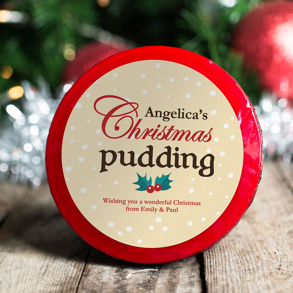 Personalised Christmas Pudding - Holly Pudding