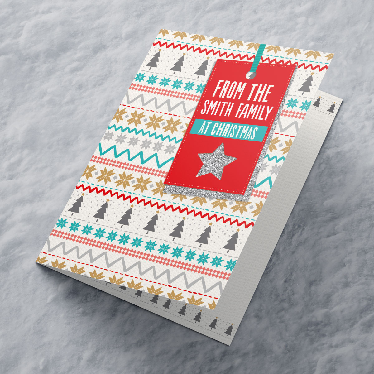 Personalised Christmas Card - Christmas Pattern With Label
