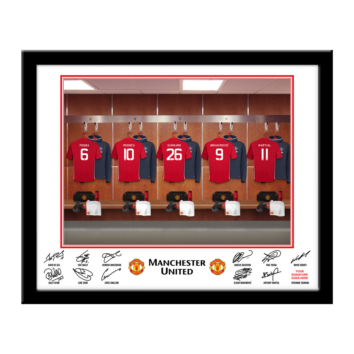 Personalised Manchester United Dressing Room Print