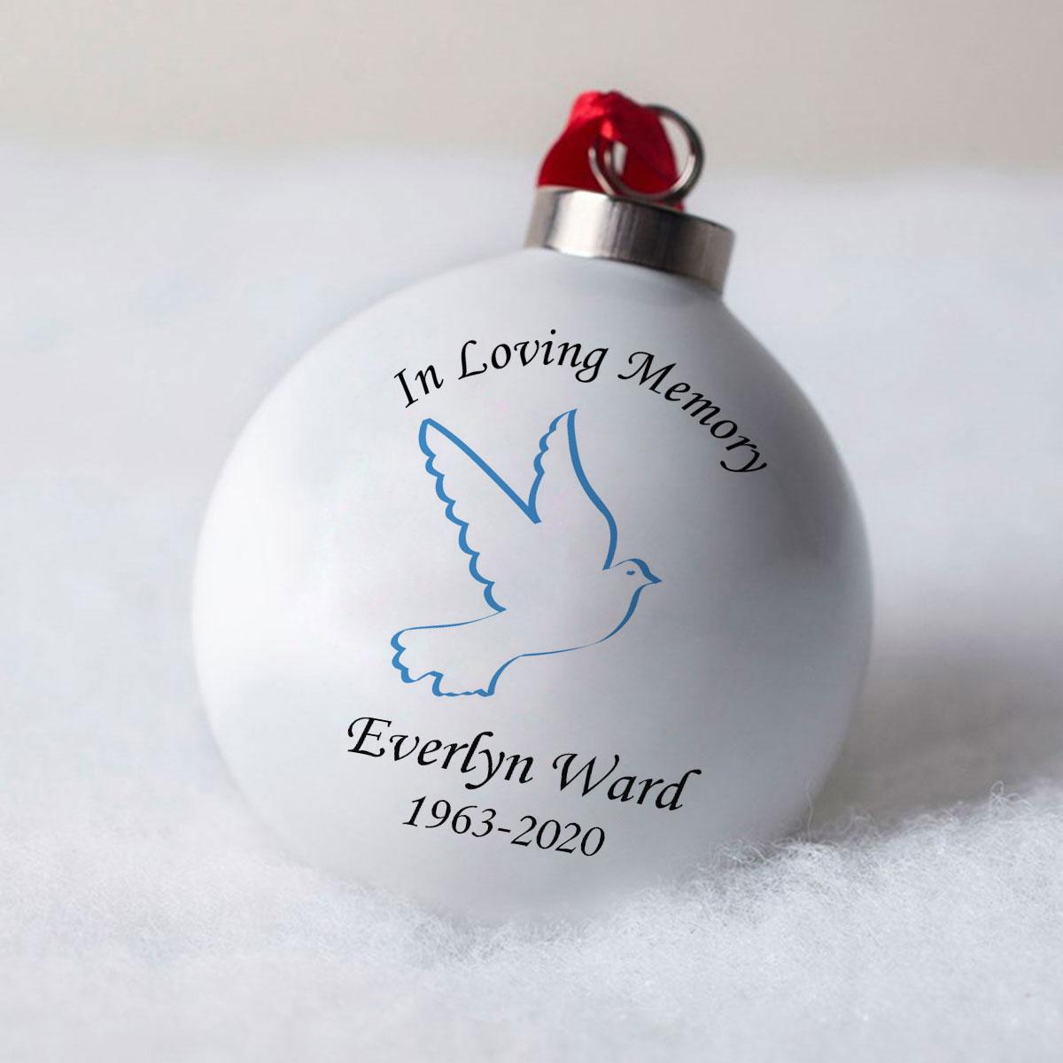 Personalised Bone China Bauble  Blue Loving Memory Dove