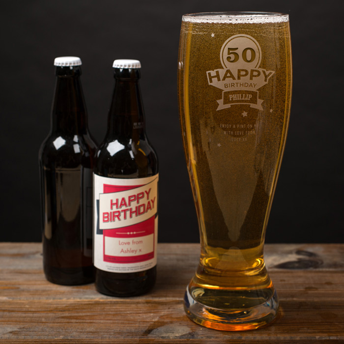 Image of Engraved Giant Beer Glass - 50th Birthday