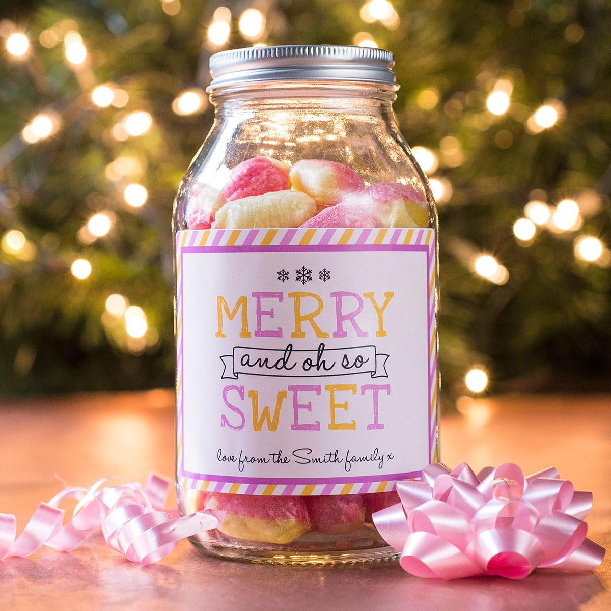 Personalised Jar Of Rhubarb & Custard Sweets - Oh So Sweet