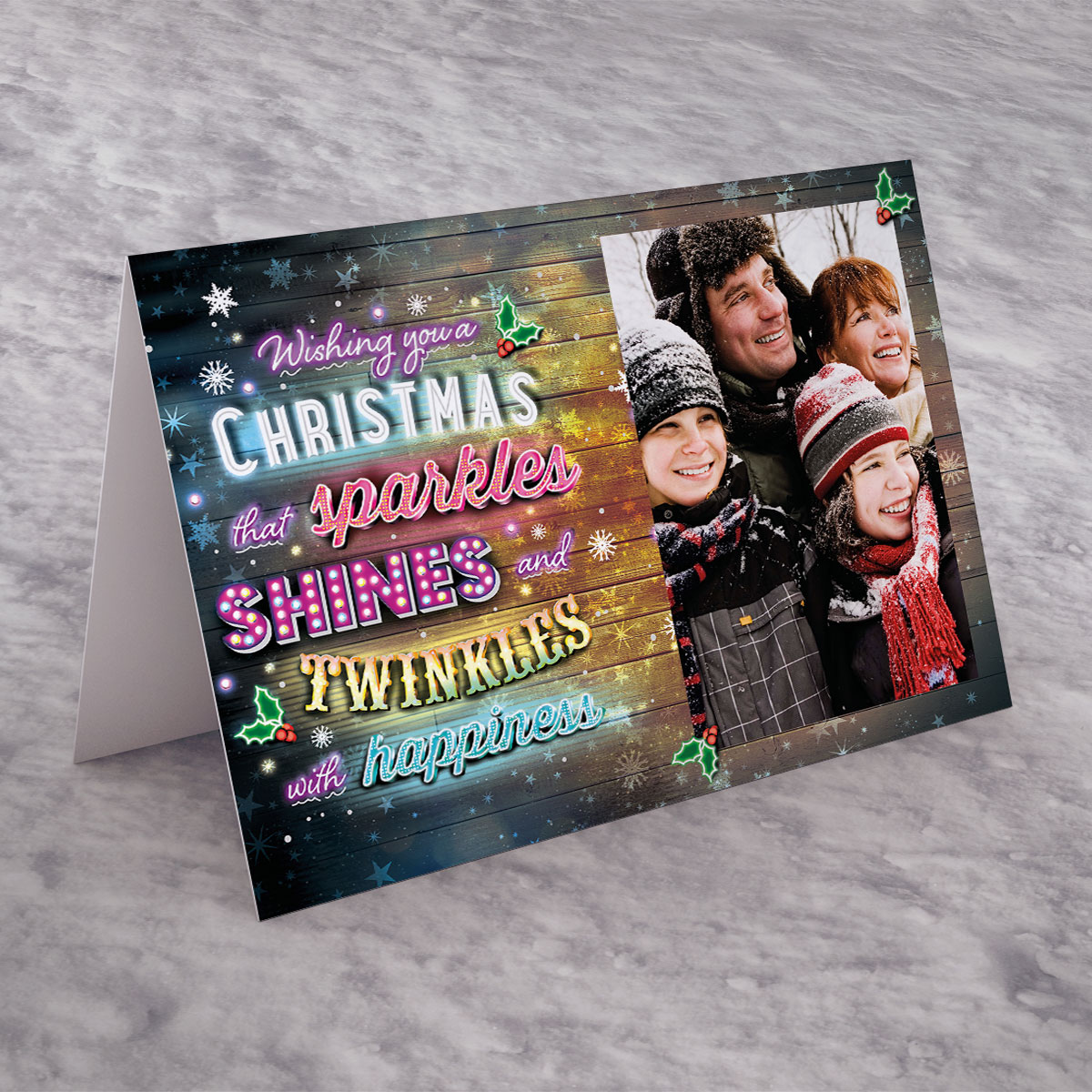 Photo Upload Christmas Card - Sparkle, Shine And Twinkles