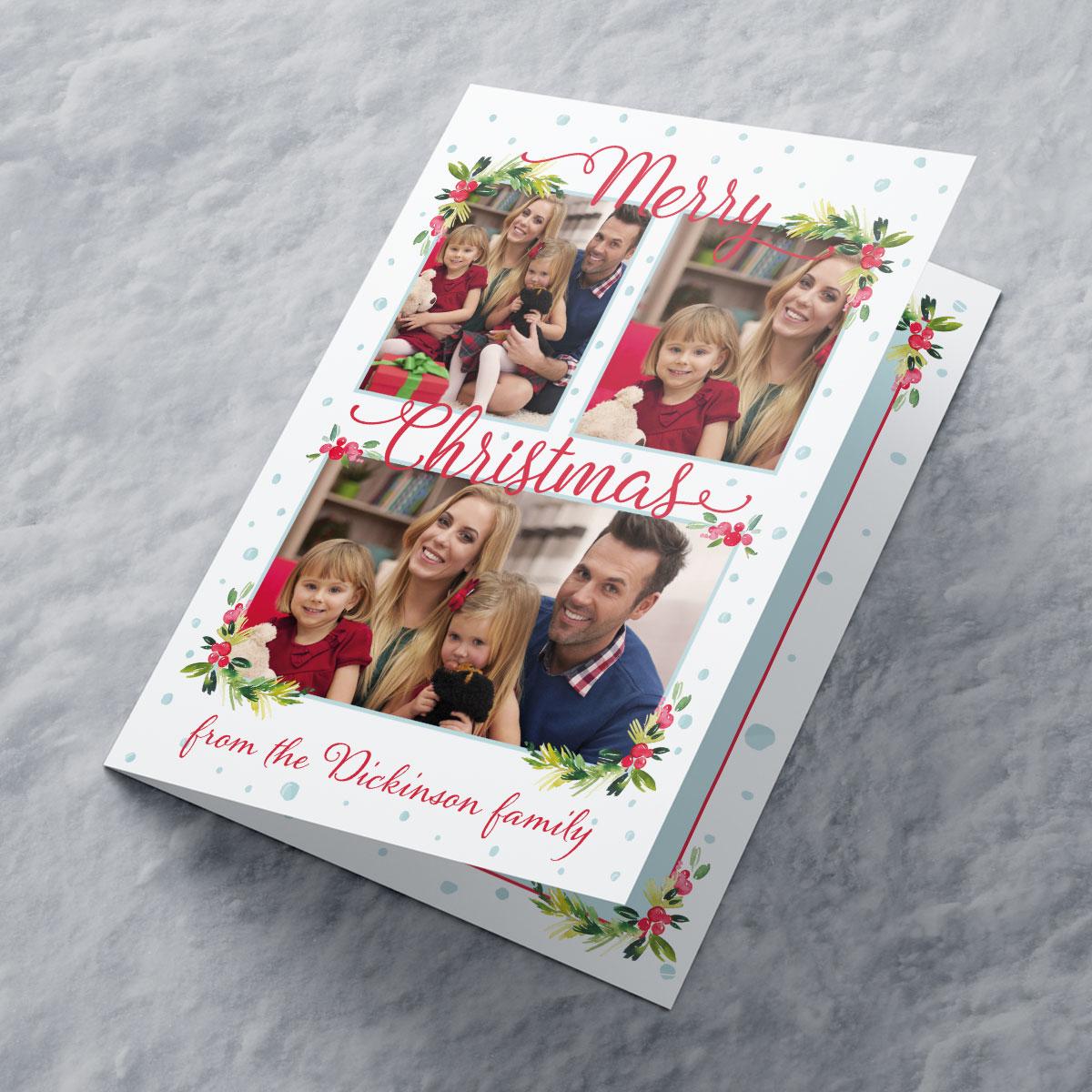 Photo Upload Christmas Card - 3 Photos Holly