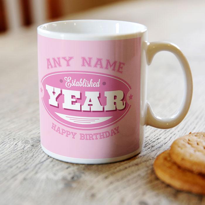 Personalised Mug - Birthday Established, For Her
