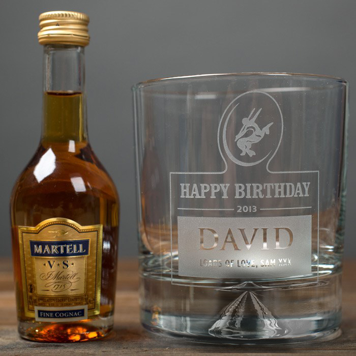 Image of Personalised Birthday Tumbler and Brandy Miniature