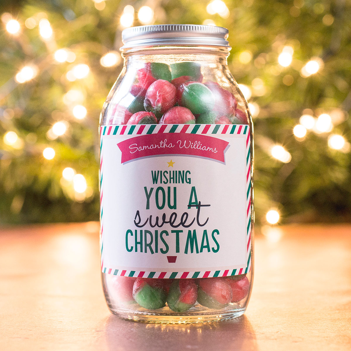Personalised Jar Of Rosy Apple Sweets - Sweet Christmas