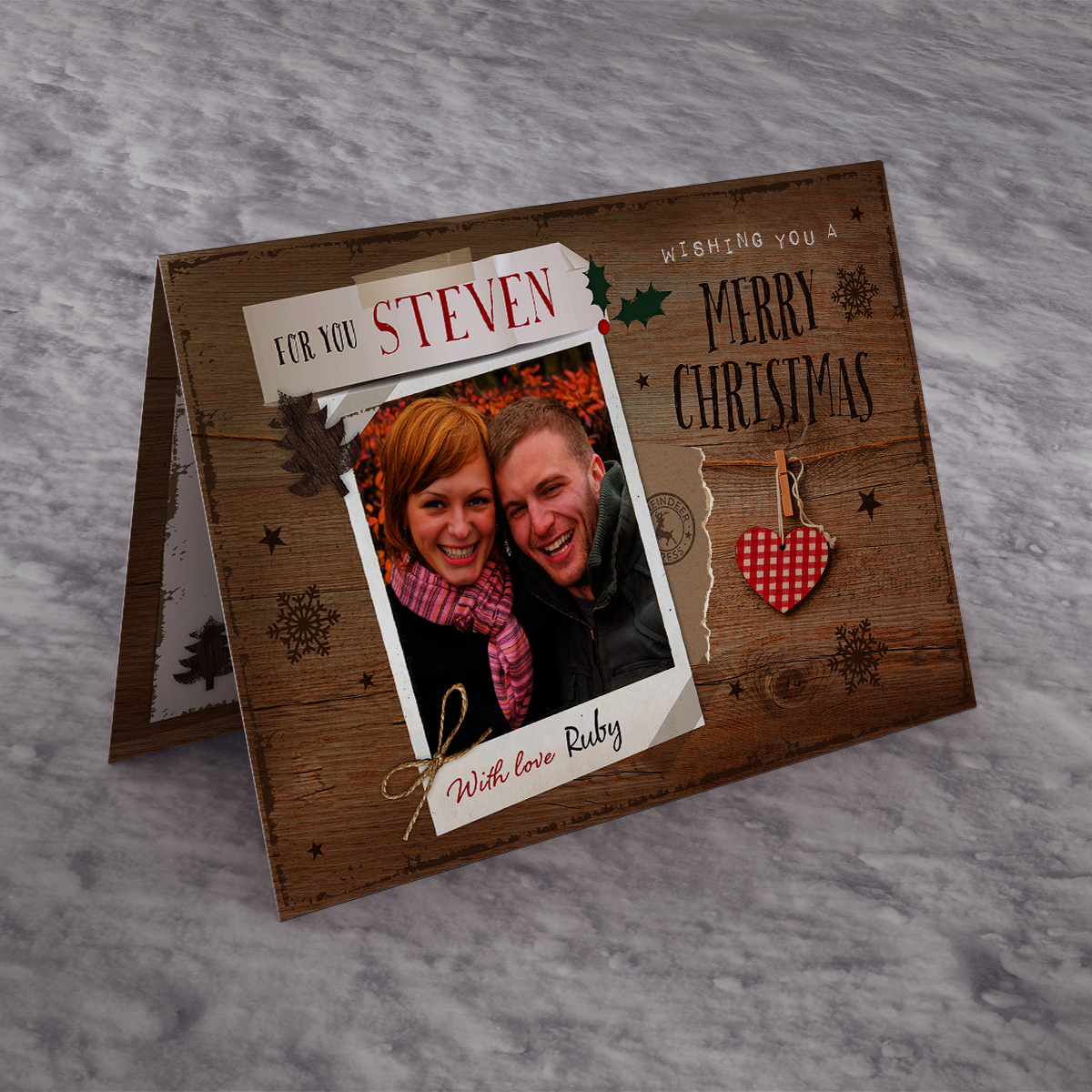 Photo Upload Christmas Card - Wooden Polaroid With Love