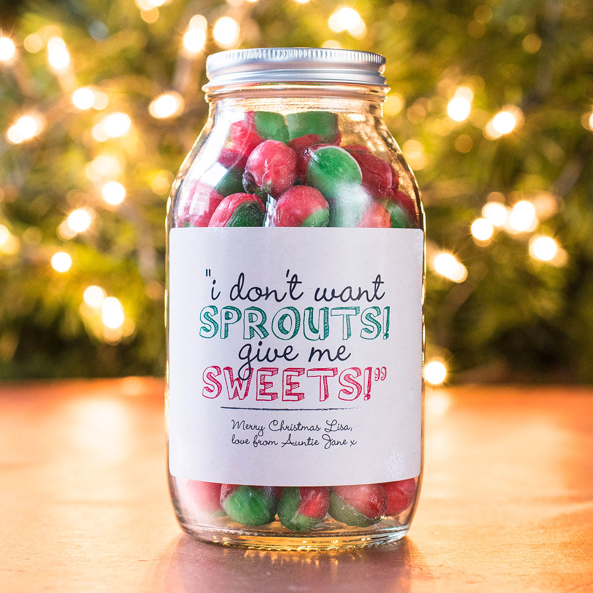 Personalised Jar Of Rosy Apple Sweets - Sprouts!