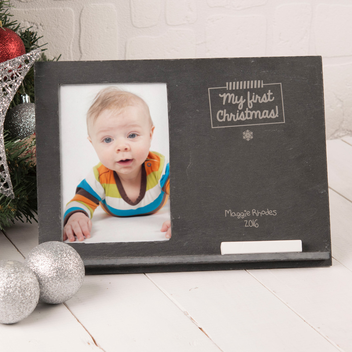Image of Engraved Slate Chalkboard Photo Frame - My First Christmas