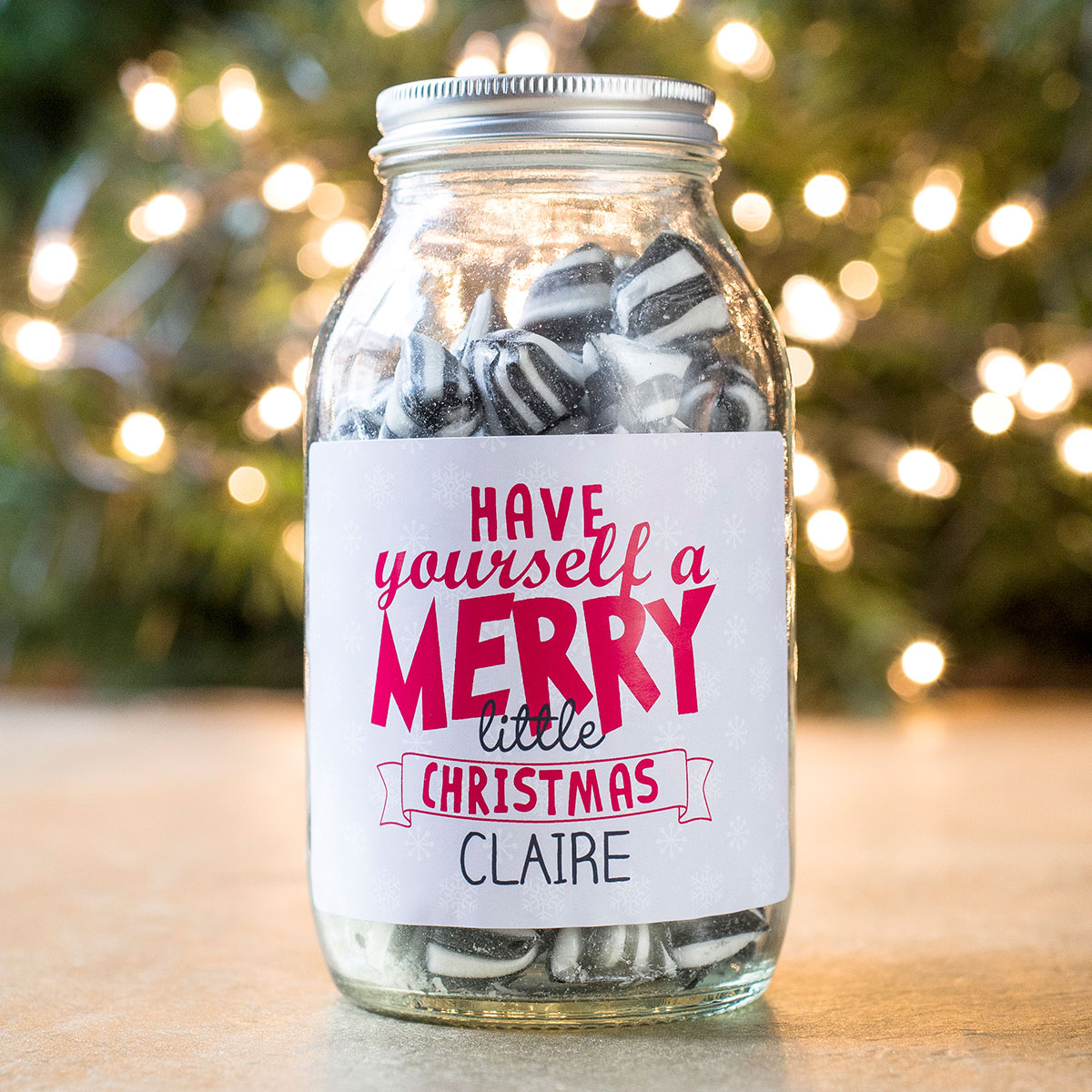 Personalised Jar Of Humbug Sweets - Merry Little Christmas