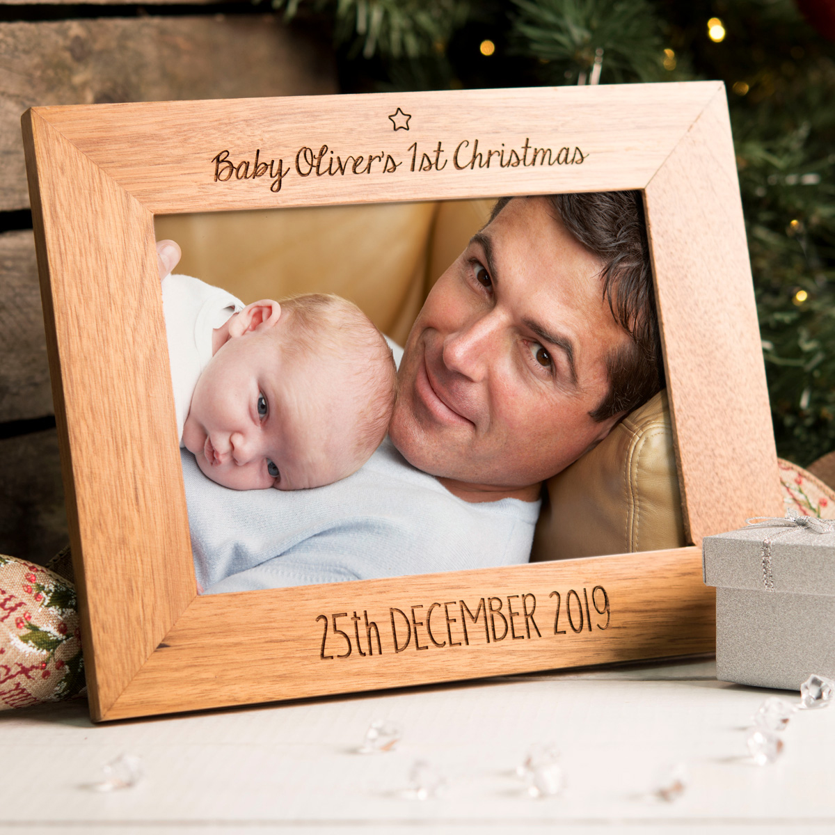 Engraved Wooden Photo Frame - Baby's 1st Christmas