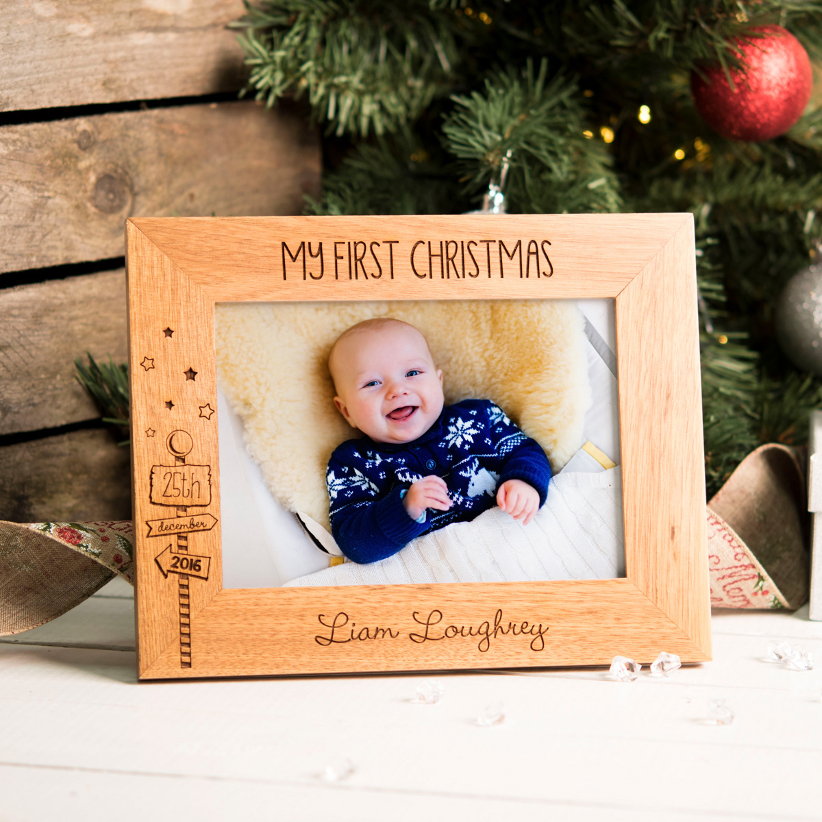 Image of Engraved Wooden Photo Frame - First Christmas, Signpost