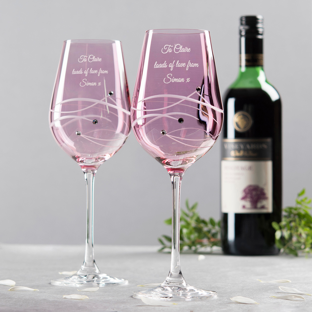 Image of Engraved Pink Swarovski® Elements Diamanté Wine Glass Set