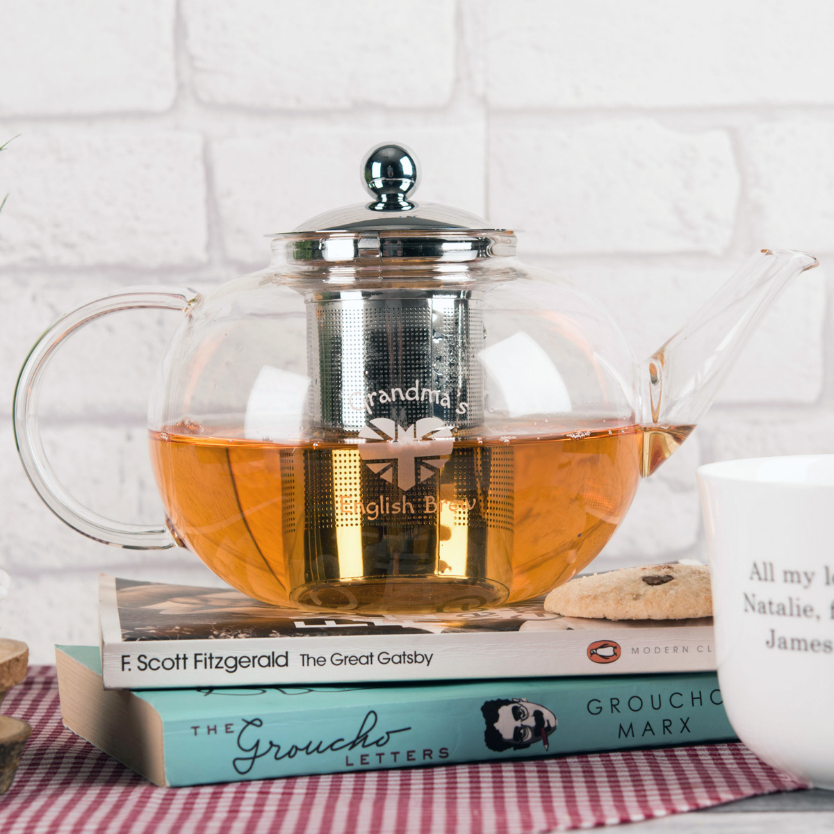 Personalised Glass Teapot  English Brew