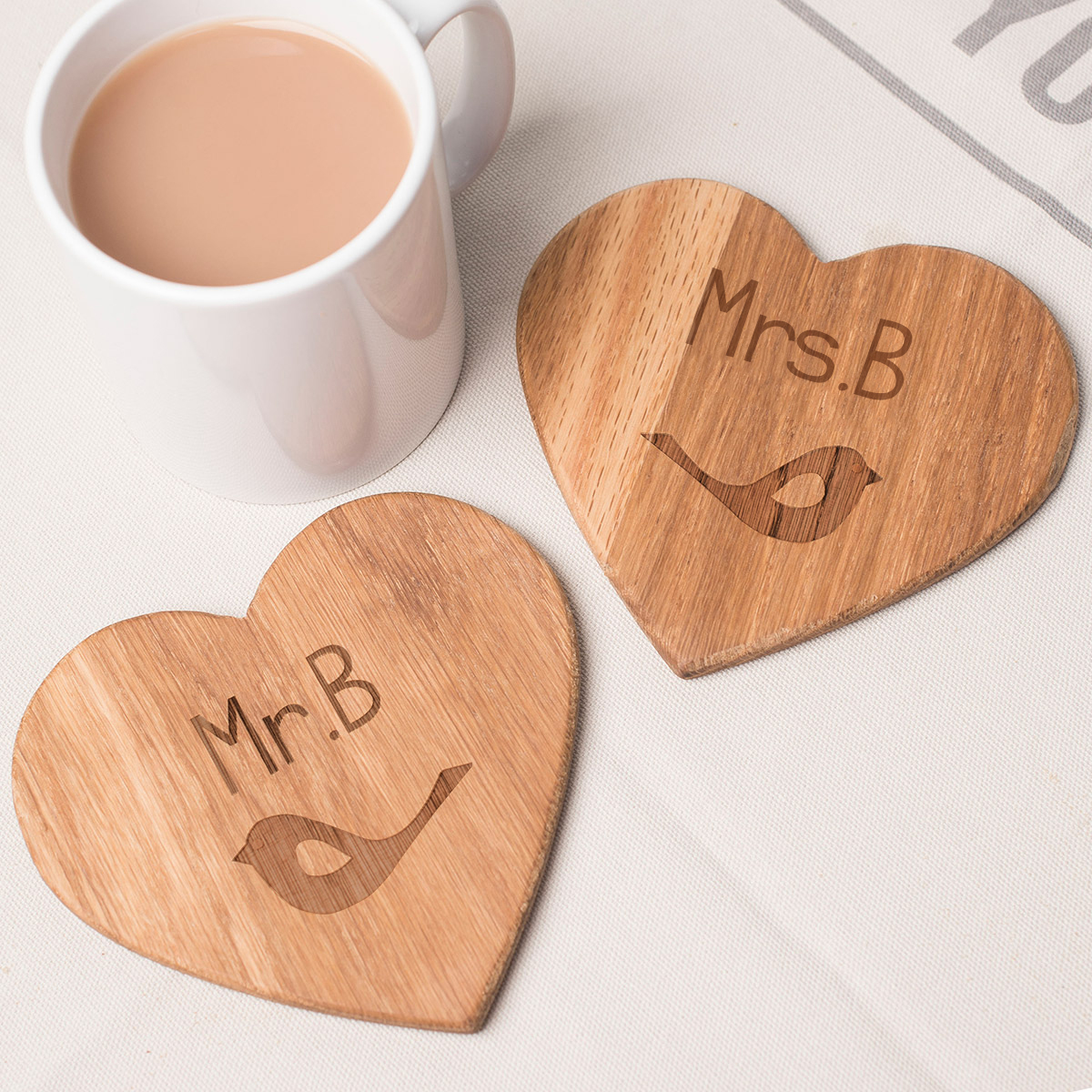 Personalised Set Of 2 Wooden Heart Coasters - Love Birds