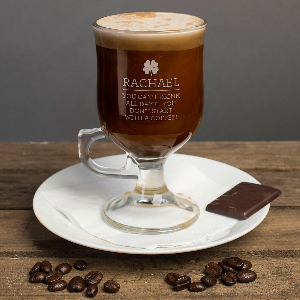 Personalised Irish Coffee Glass With Baileys Miniature  Start With A Coffee